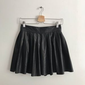 Alice + Olivia Box pleated Leather circle skirt